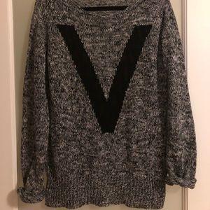 V Gray Oversized Sweater